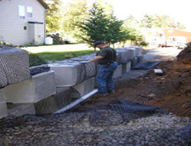 beginning of retaining wall construction