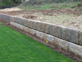 during retaining wall construction