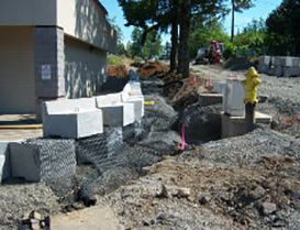 before retaining wall construction